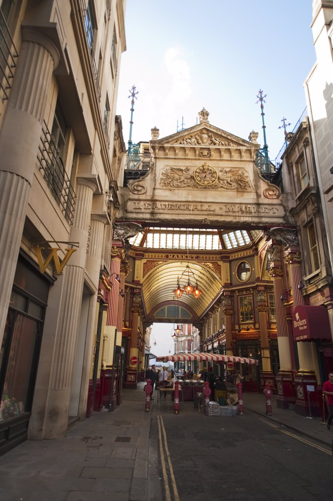 Stock Photo: 4282-29162 England, London, City of London. Entrance to the ornate Victorian Leadenhall Market at Gracechurch Street in the City of London.