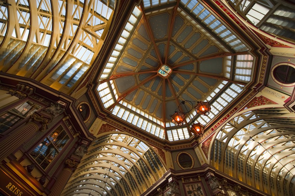 Stock Photo: 4282-29163 England, London, City of London. The ornate and highly decorative roof in Leadenhall Market, a preserved Victorian covered shopping mall at Gracechurch Street in the City of London.