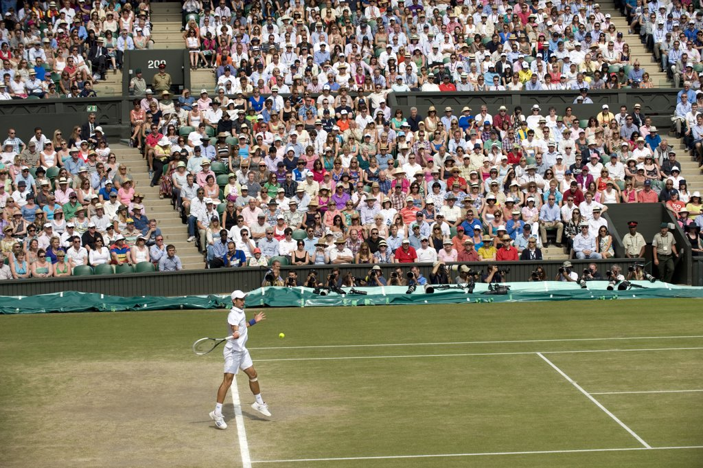 Stock Photo: 4282-29238 England, London, Wimbledon. Novak Djokovic playing in the Men's Singles Final on Centre Court at the 2011 Wimbledon Tennis Championships.