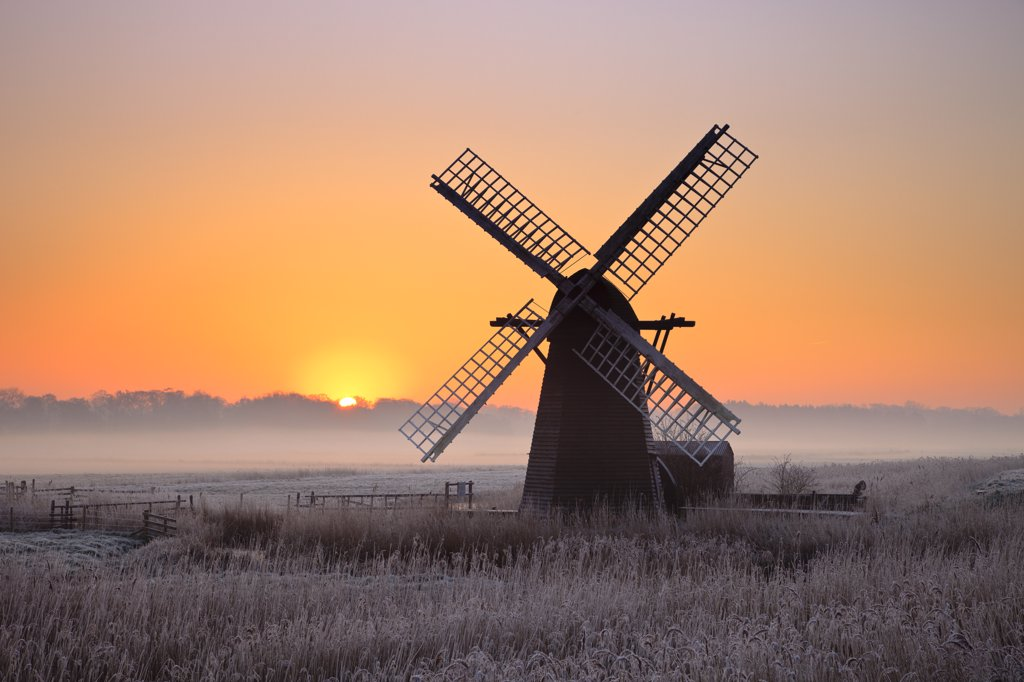 England, Suffolk, Herringfleet. Herringfleet smock mill in the mist on a winter morning. : Stock Photo