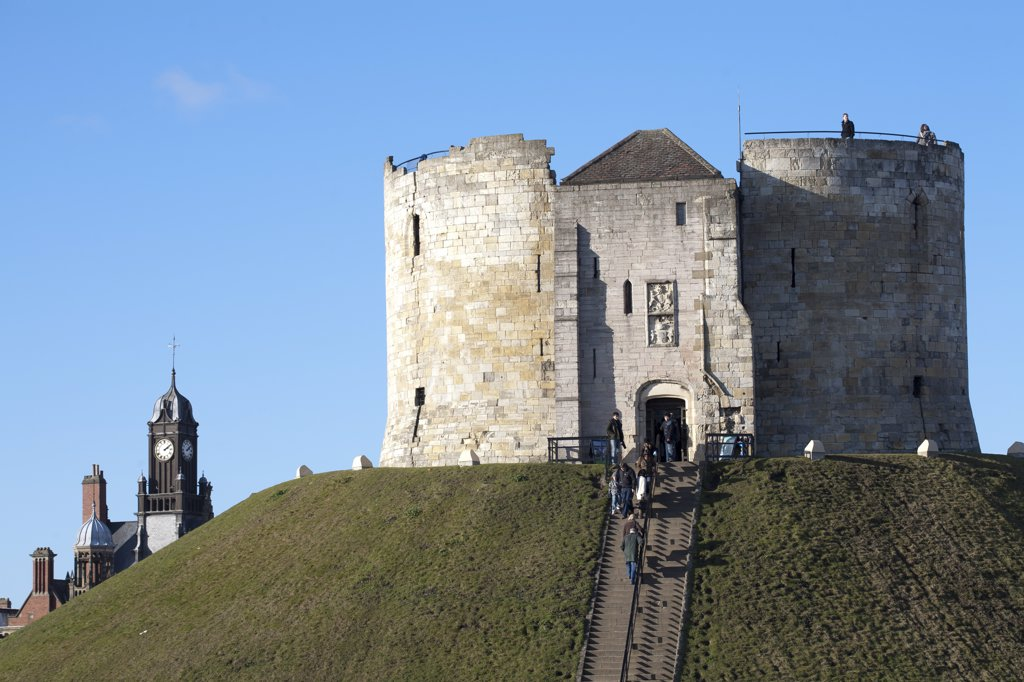 Stock Photo: 4282-29592 England, North Yorkshire, York. Clifford's Tower, a 13th century stone keep on a mound, almost all that remains of York Castle.