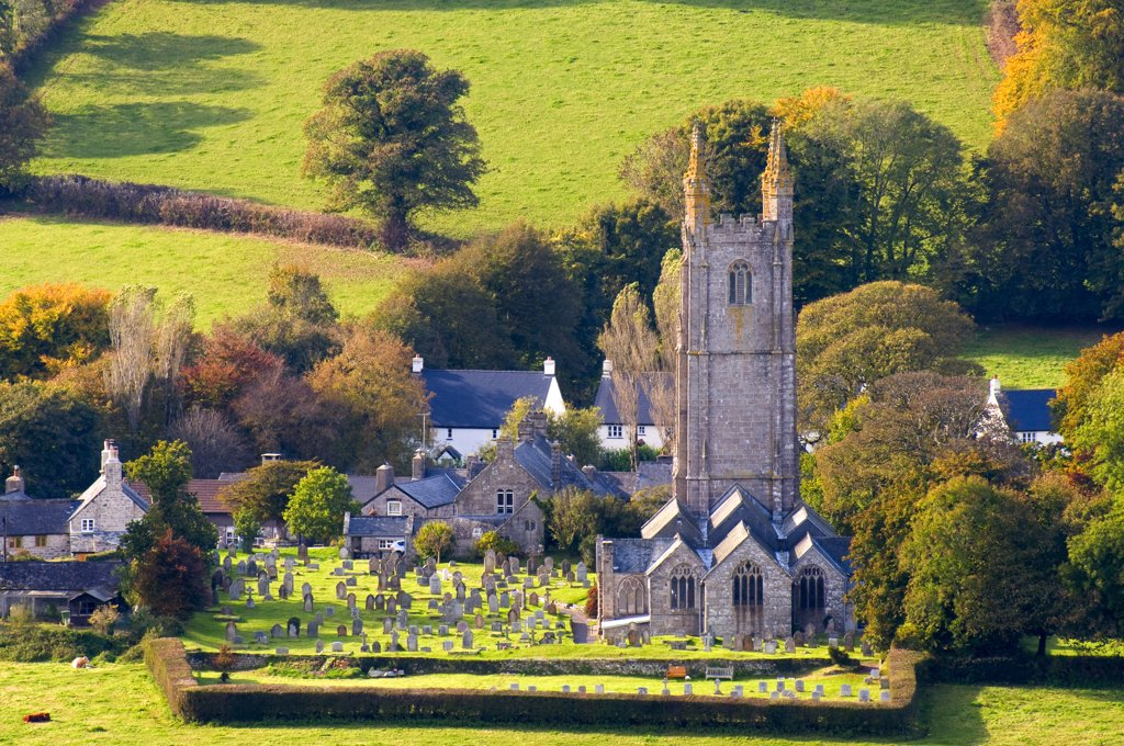 Stock Photo: 4282-29629 England, Devon, Widecombe-in-the-Moor. The church of St Pancras, known as the 'Cathedral of the Moors' in Dartmoor National Park.