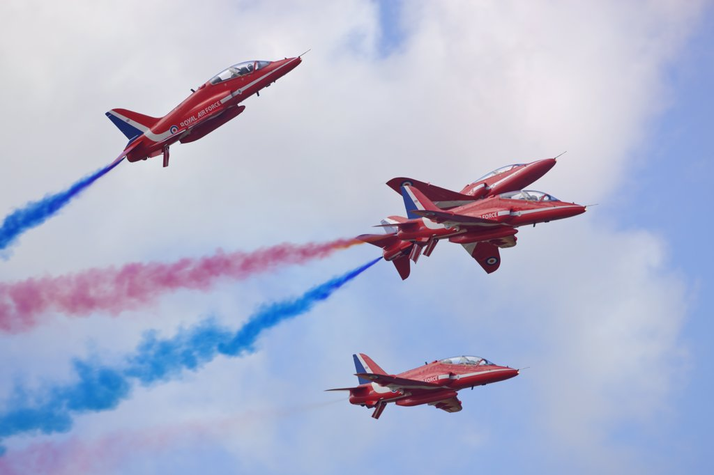 Stock Photo: 4282-30263 England, Gloucestershire, Fairford. The Red Arrows aerobatic display at the Royal International Air Tattoo at RAF Fairford 2011.