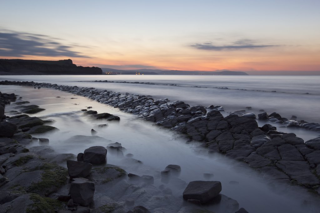England, Somerset, Kilve. Kilve beach at the bottom of the Quantocks at sunset. : Stock Photo