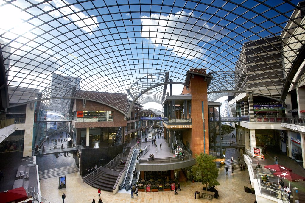 Stock Photo: 4282-30421 England, Bristol, Bristol. Cabot Circus, a state of the art shopping and leisure centre opened in 2008.