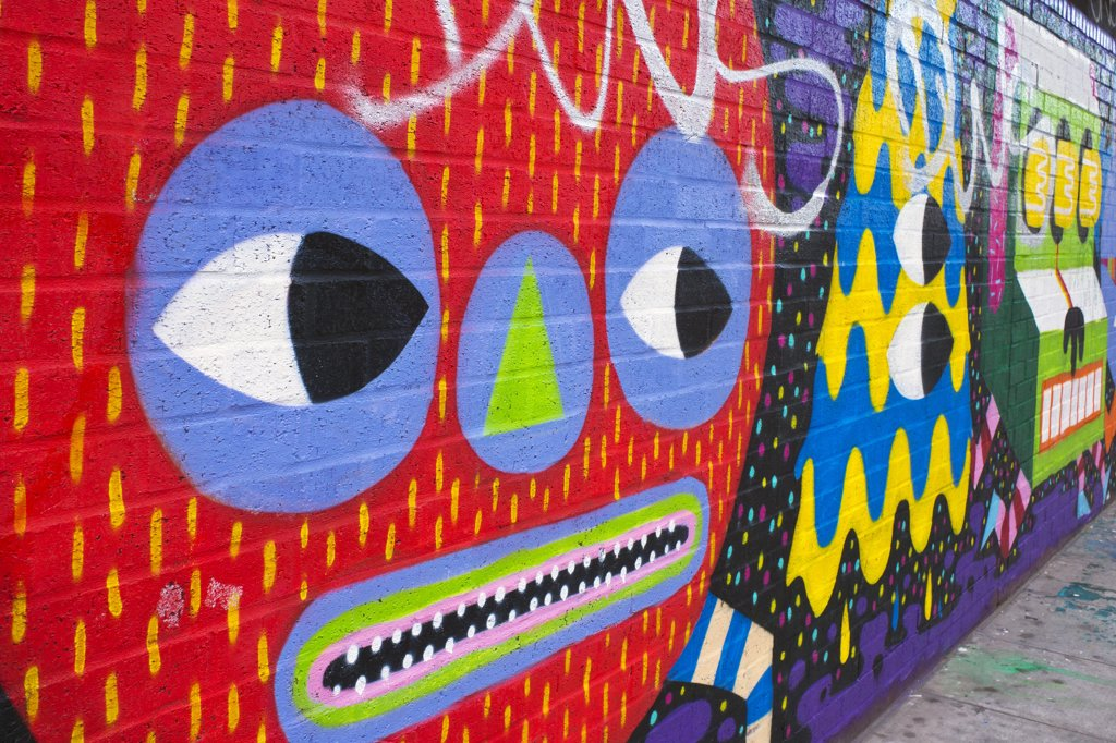 Stock Photo: 4282-30481 England, London, Shoreditch. Street art on a wall in Redchurch Street in the East End of London.