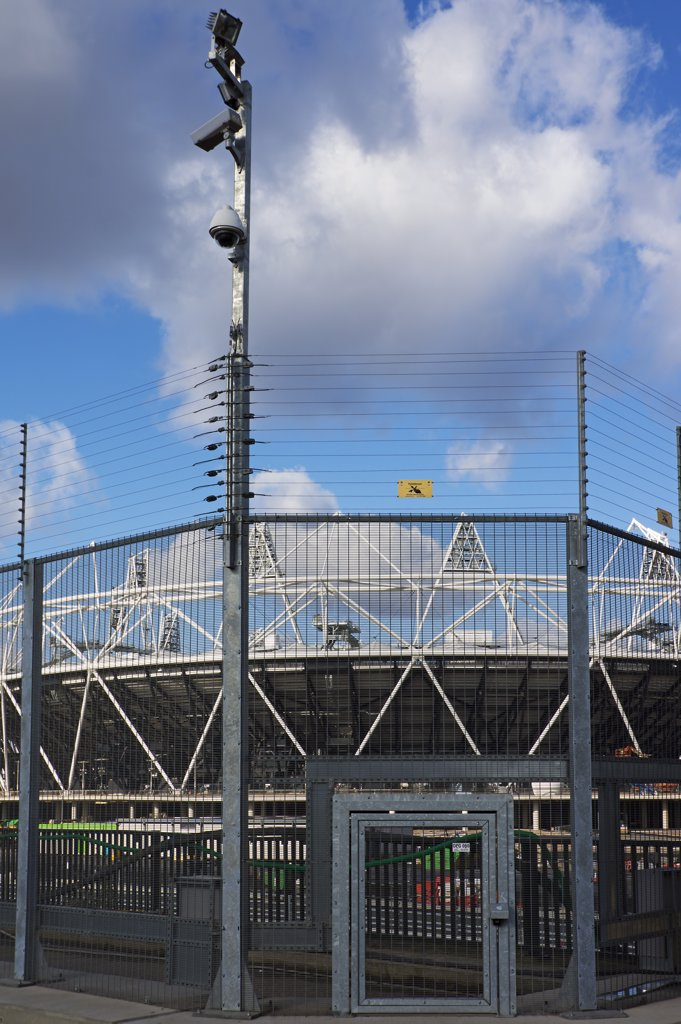 Stock Photo: 4282-30511 England, London, Stratford. Olympic Park Security with electric fencing and cameras.