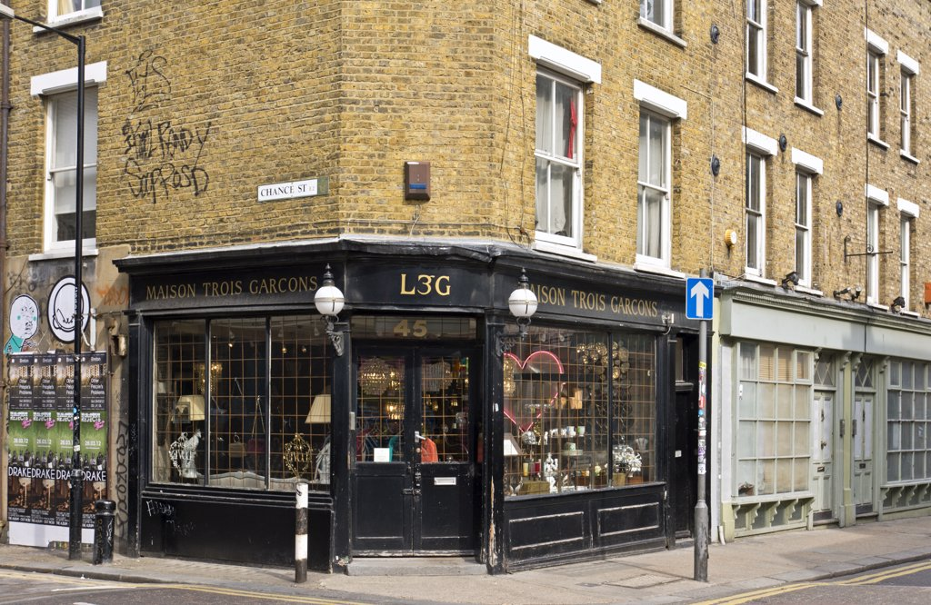 Stock Photo: 4282-30543 England, London, Shoreditch. Maison Trois Garcons, a lifestyle shop on the corner of Redchurch Street and Chance Street in the east end of London.