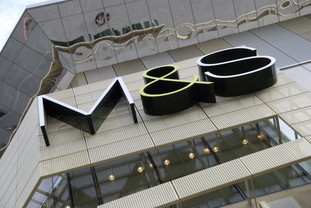 England, London, Stratford. M & S (Marks & Spencer) sign on their store at Westfield Stratford City. : Stock Photo