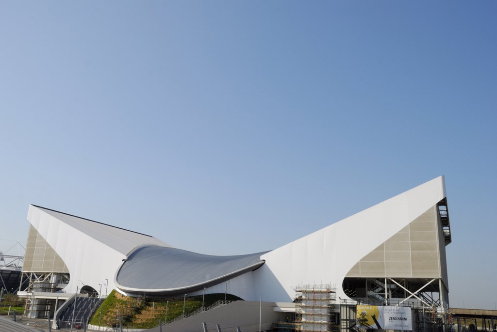 Stock Photo: 4282-30650 England, London, Stratford. The London Aquatics Centre in the Olympic Park.