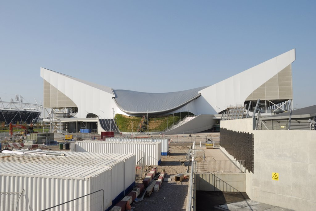 Stock Photo: 4282-30651 England, London, Stratford. The London Aquatics Centre in the Olympic Park.