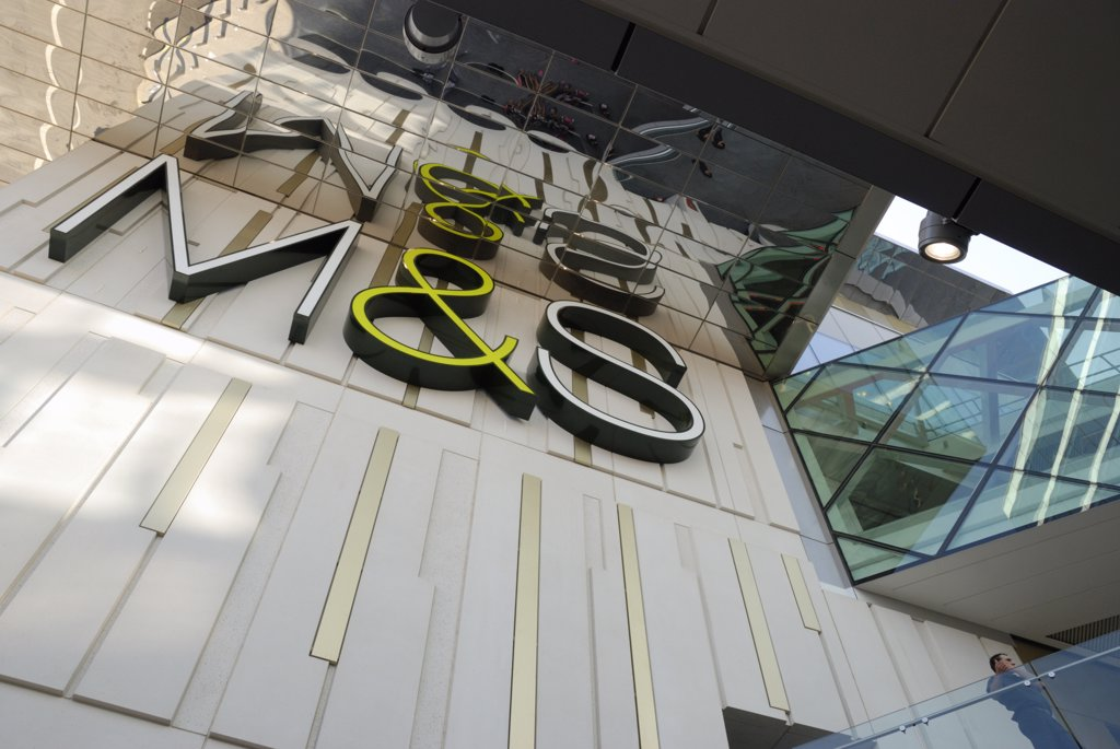 Stock Photo: 4282-30653 England, London, Stratford. M & S (Marks & Spencer) sign on their store at Westfield Stratford City.