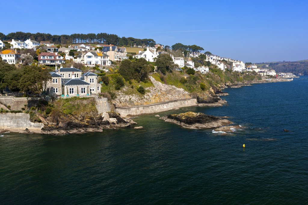 Stock Photo: 4282-30690 England, Cornwall, Fowey. View towards Fowey, an historic town and commercial seaport on the River Fowey, from St Catherine's Castle.
