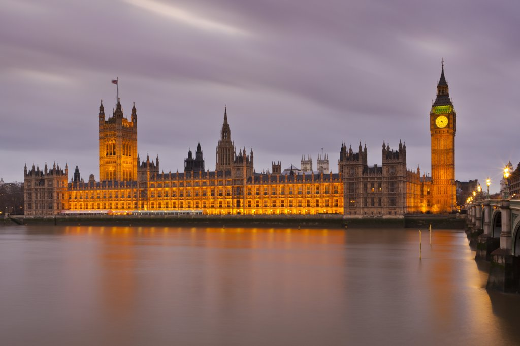 Stock Photo: 4282-30745 England, London, Westminster. Big Ben and the Houses of Parliament on the North bank of the River Thames.