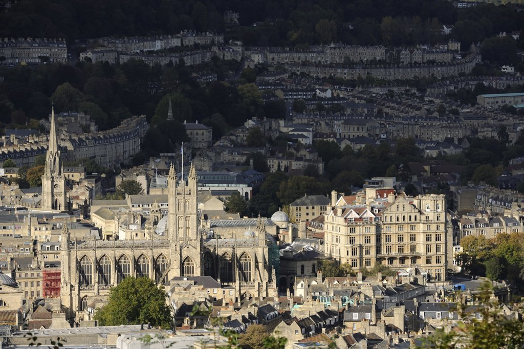 Stock Photo: 4282-30766 England, Bath and North East Somerset, Bath. View over the historic City of Bath, a World Heritage Site famous as a spa town and for its Georgian architecture.