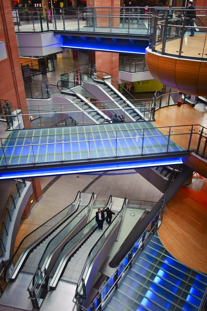 Stock Photo: 4282-3080 Northern Ireland, County Antrim, Belfast. Bridges and escalators inside Victoria Square Shopping Centre, the biggest property development ever undertaken in Northern Ireland.