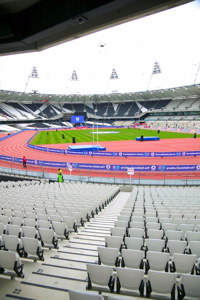 Stock Photo: 4282-30822 England, London, Stratford. An interior view of the Olympic stadium in Stratford.