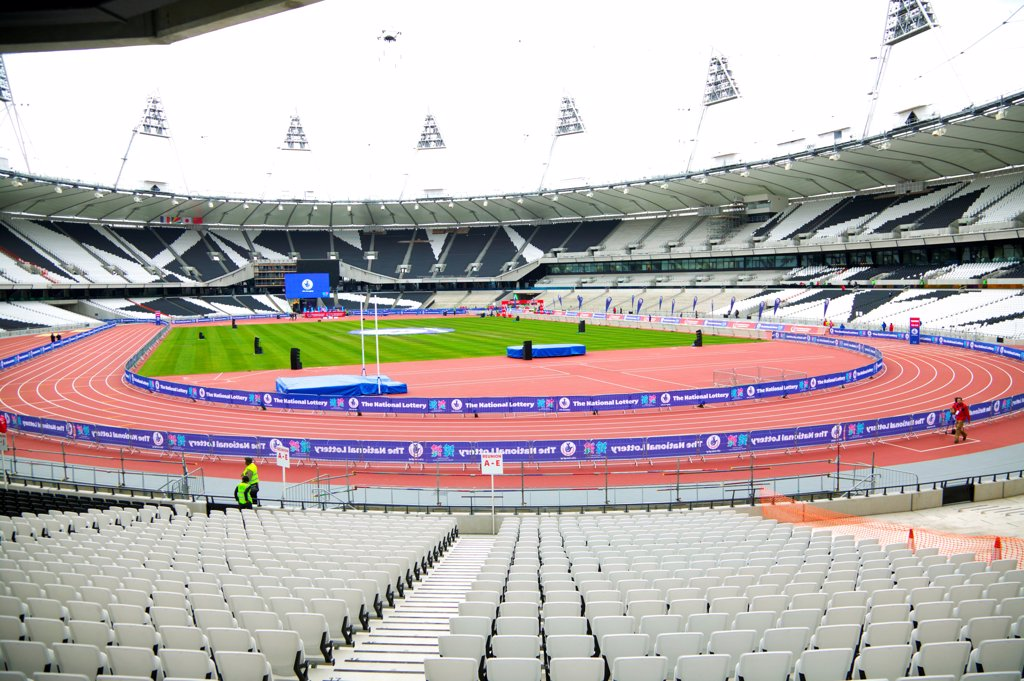 Stock Photo: 4282-30823 England, London, Stratford . An interior view of the Olympic stadium looking down onto the running track.