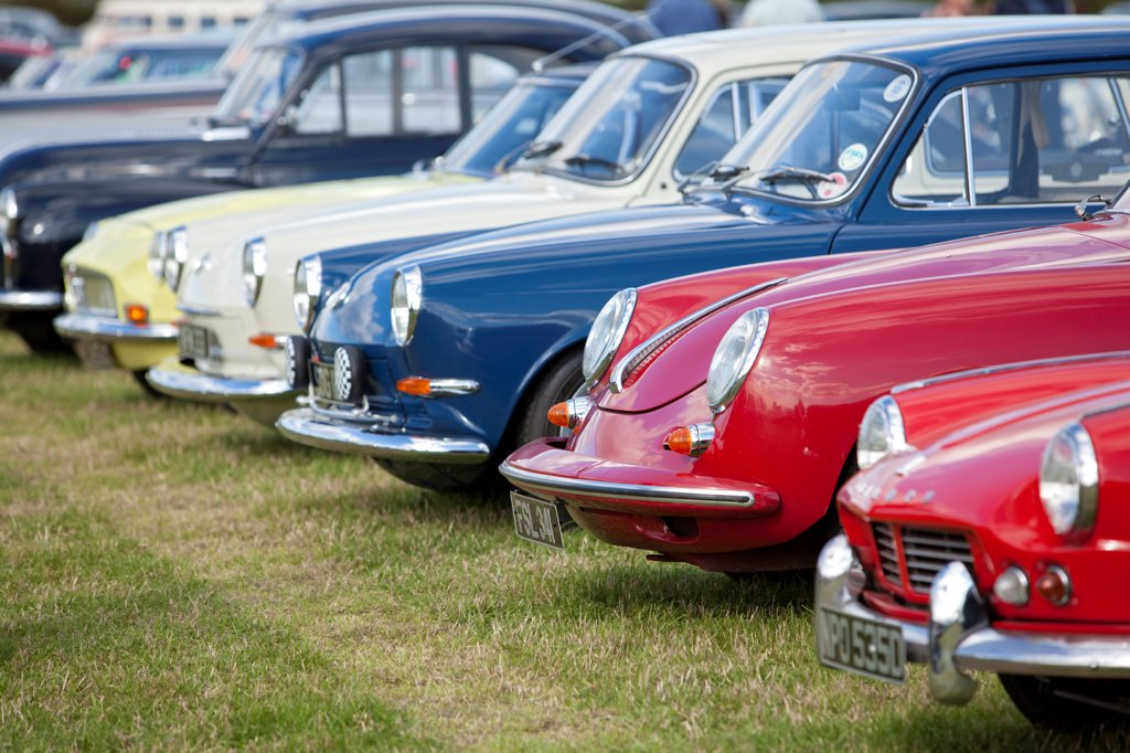 Stock Photo: 4282-30993 England, West Sussex, Goodwood. A series of classic cars parked at Goodwood revival.