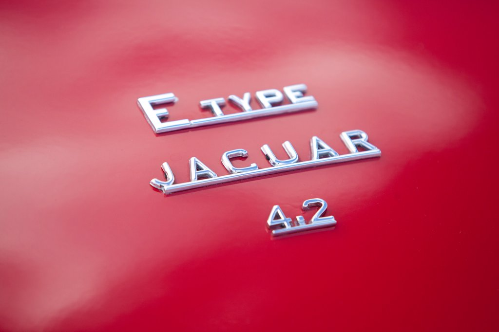Stock Photo: 4282-30996 England, West Sussex, Goodwood. A close up view of a Jaguar E Type classic car at Goodwood revival.