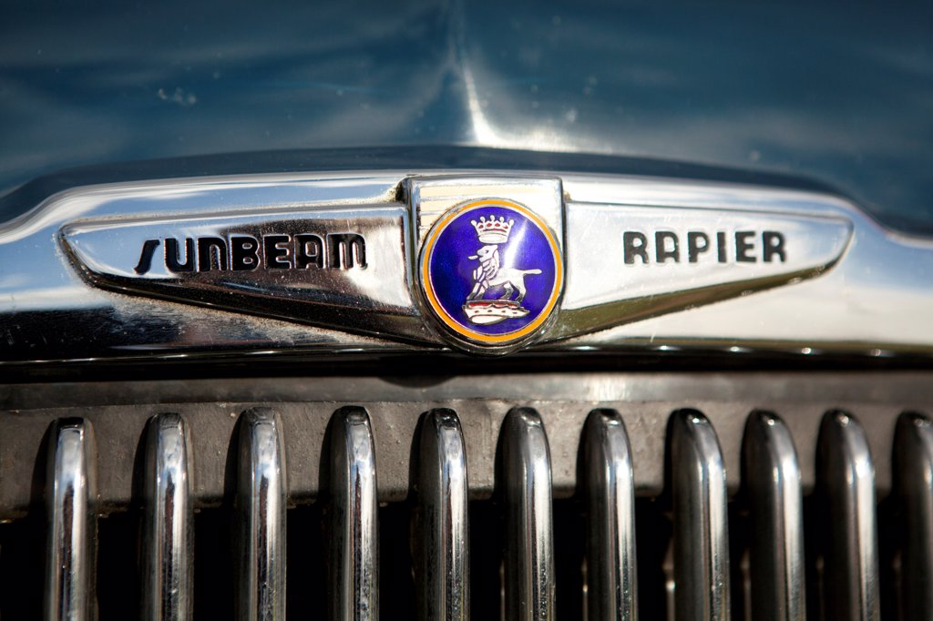 England, West Sussex, Goodwood. A close up view of a classic Sunbeam Rapier car at Goodwood revival. : Stock Photo