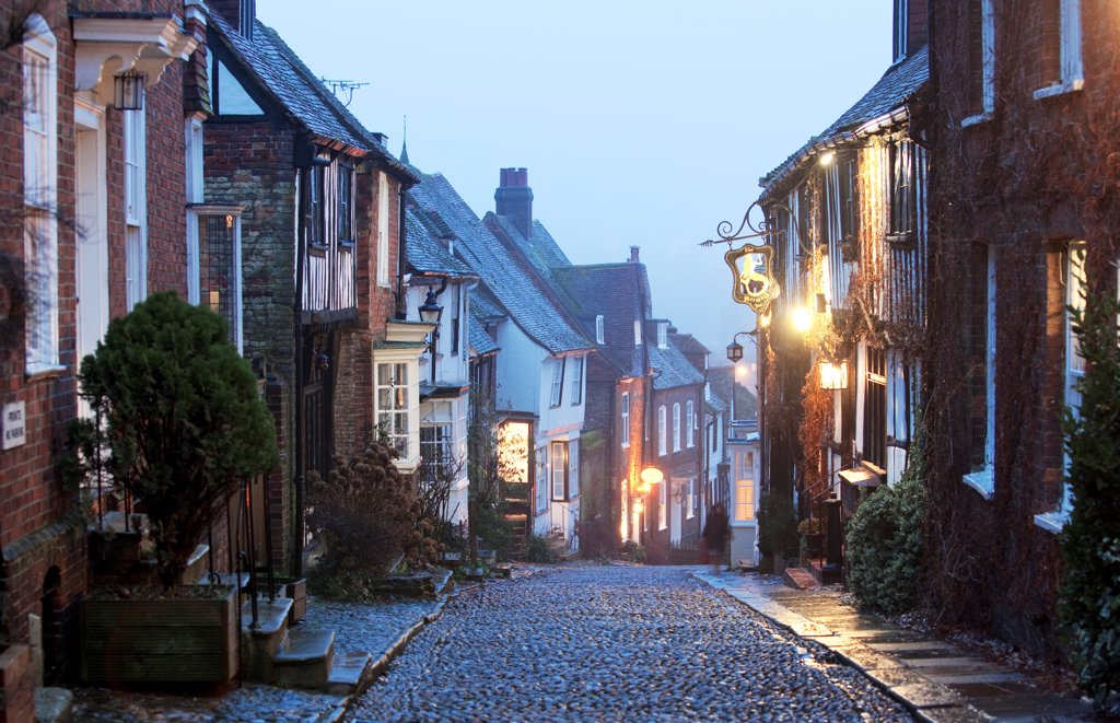 Stock Photo: 4282-31013 England, East Sussex, Rye. A view down a cobbled street in Rye in East Sussex.