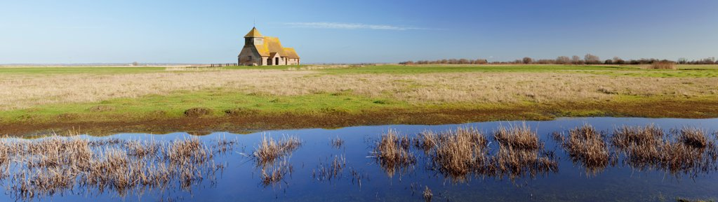 Stock Photo: 4282-31040 England, Kent, Romney Marsh. A panoramic view of Fairfield Church on Romney Marsh in Kent.