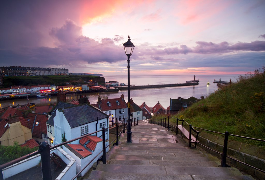 Stock Photo: 4282-31157 England, North Yorkshire, Whitby. A lamppost on the 199 steps at Whitby.