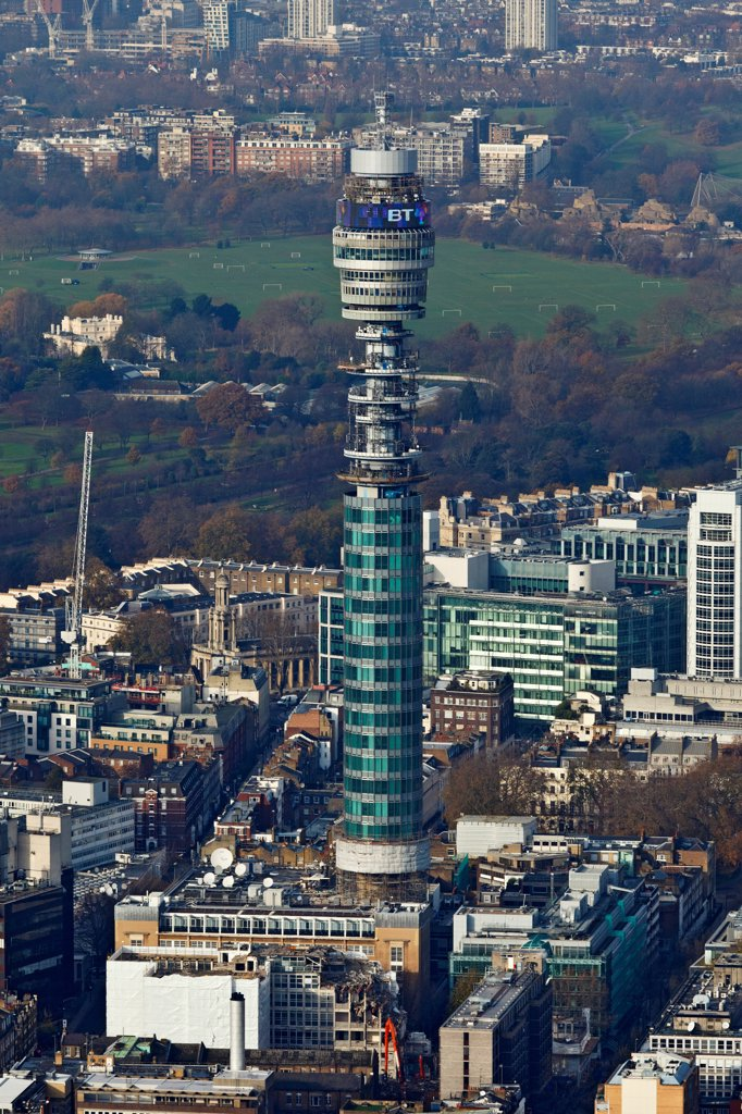 Stock Photo: 4282-31455 England, London, Fitzrovia. Aerial view of the Telecom Tower in London with Regents Park at the rear.