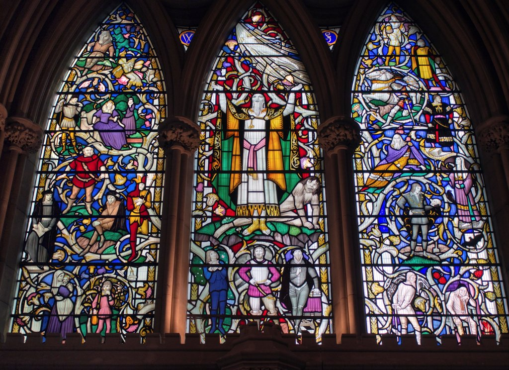 Stock Photo: 4282-31565 England, London, Southwark. One of the stain glass windows in Southwark cathedral depicting a Shakespeare play.