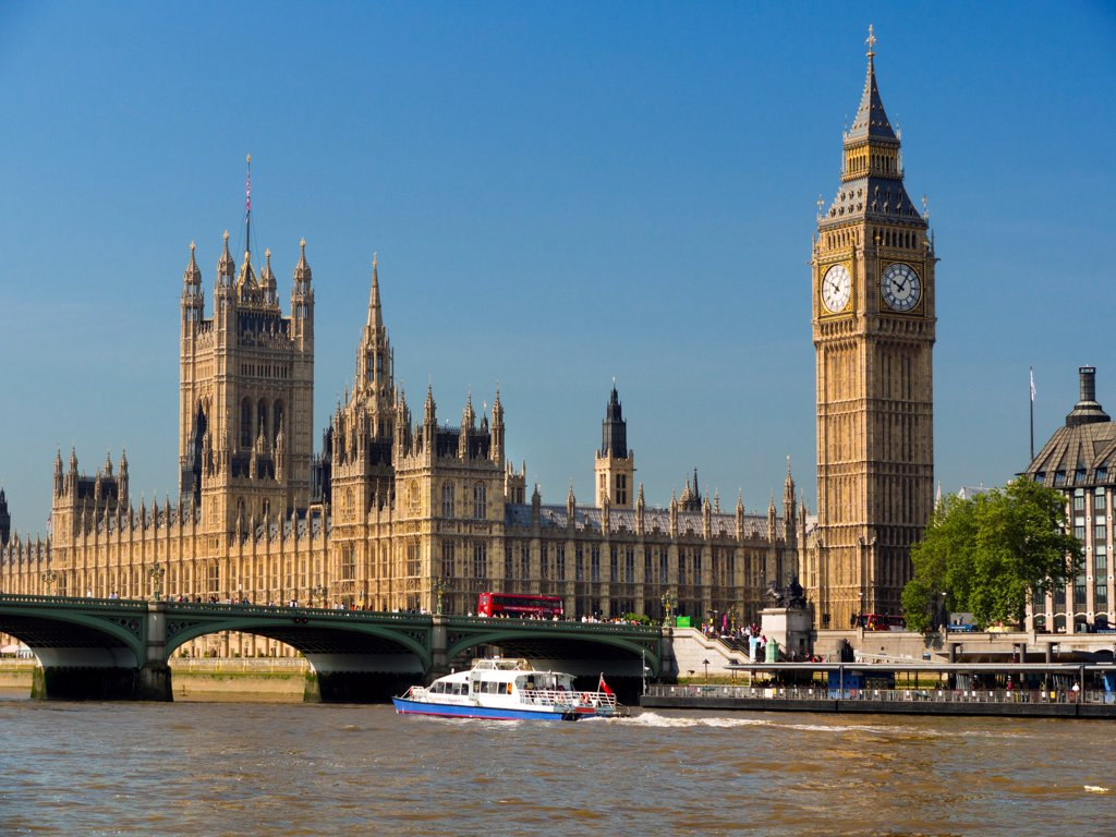 Stock Photo: 4282-31622 England, London, Houses of Parliament. The Houses of Parliament and Westminster Bridge.