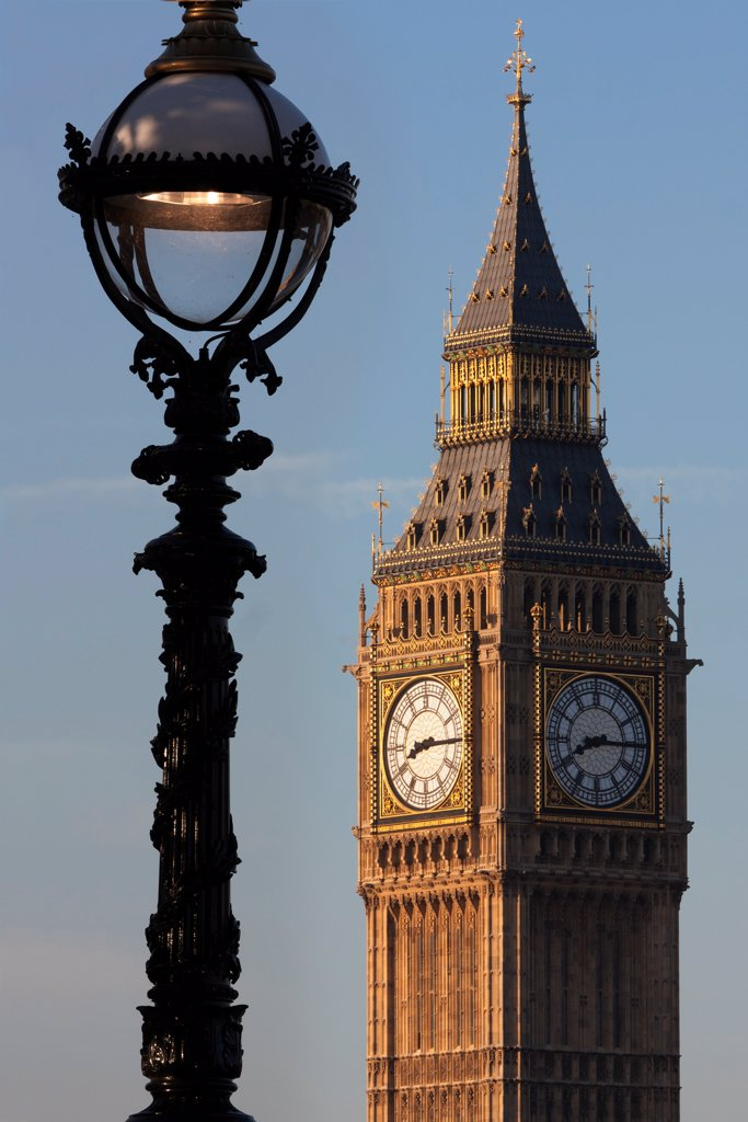 Stock Photo: 4282-31667 England, London, Westminster. Big Ben and ornate lamppost at dusk.