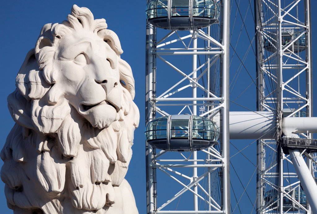 England, London, South Bank. Coade stone lion at the end of Westminster Bridge with London Eye in the background. : Stock Photo