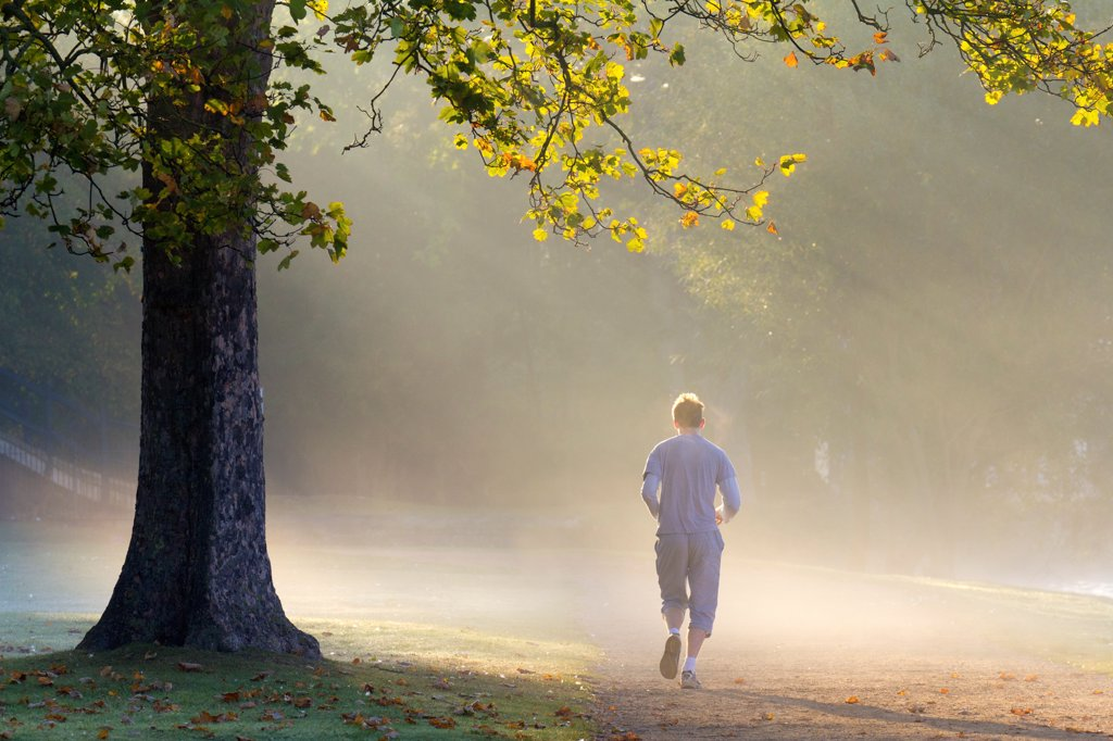 England, Oxfordshire, Christ Church. A solitary jogger running on a misty autumn morning by the river Thames at Oxford. : Stock Photo