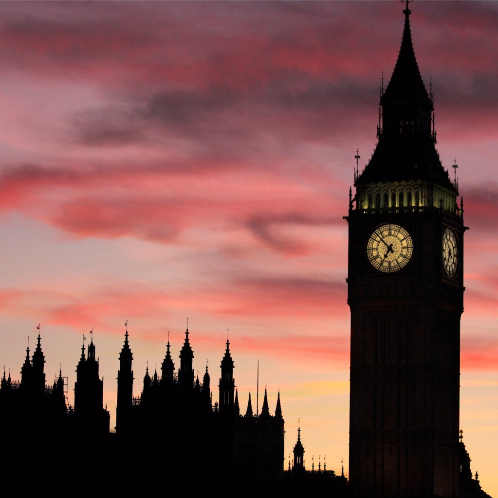 Stock Photo: 4282-31749 England, London, Westminster. The Palace of Westminster at dusk.