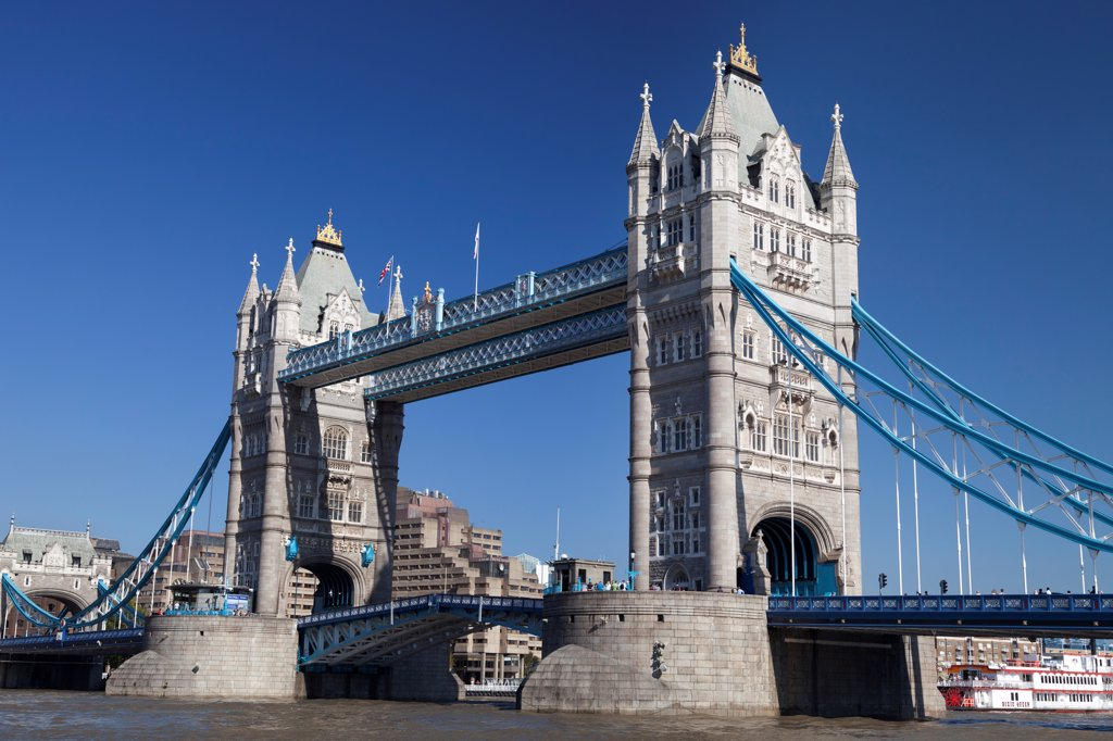 Stock Photo: 4282-31792 England, London, Tower Bridge. A view toward Tower Bridge during an autumn heat wave.