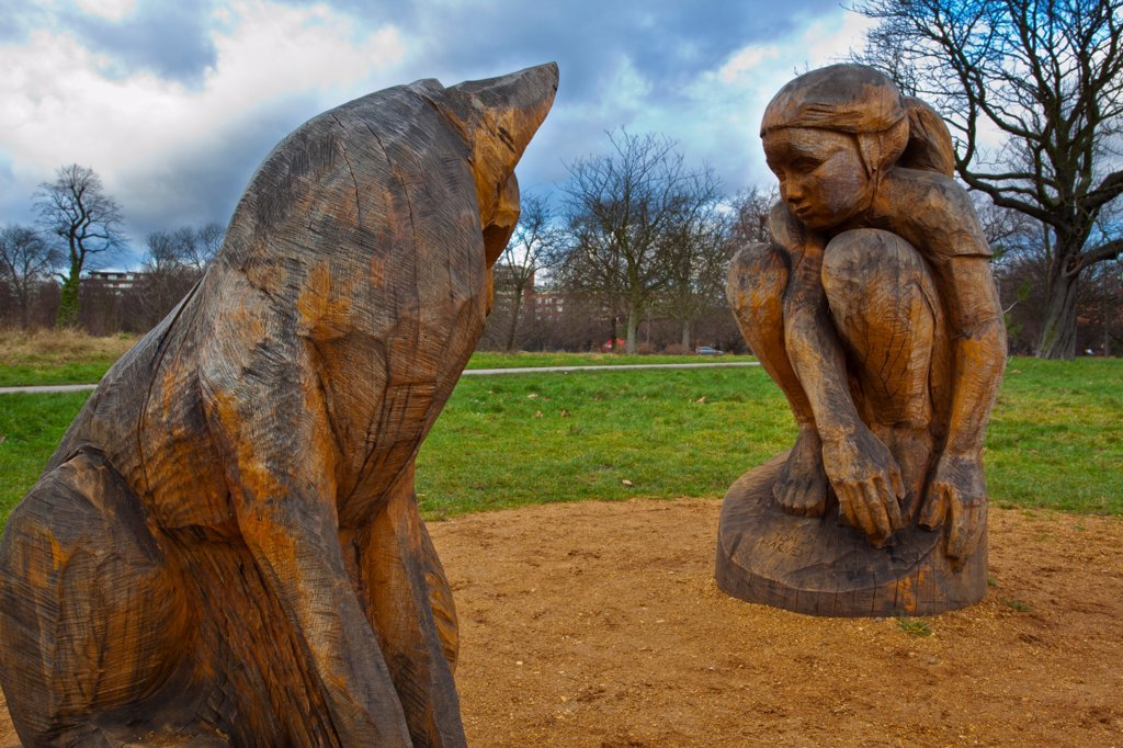 Stock Photo: 4282-31849 England, London, Regent's Park. Wooden sculptures in the grounds of The Regent's Park which is a Royal Park in London.