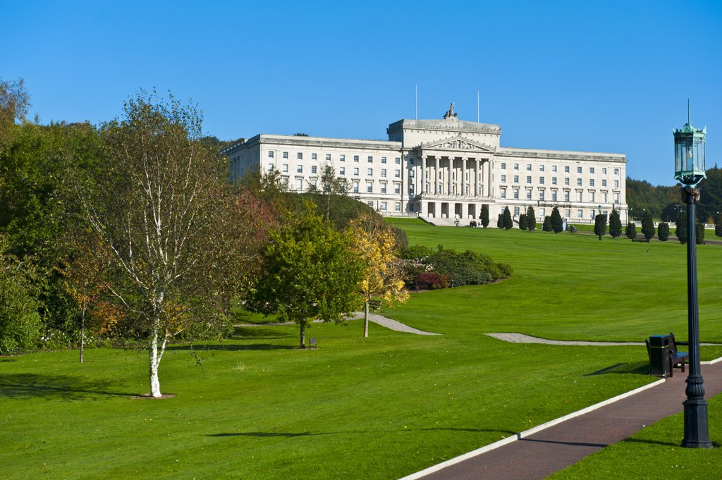 Northern Ireland, County Down, Belfast. Parliament buildings, home to the Northern Ireland Assembly in the grounds of Stormont Estate. : Stock Photo