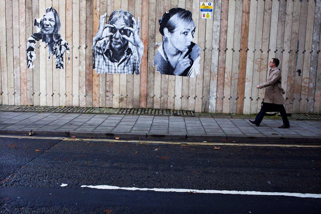 England, Bristol, Bristol. Street art poster in Bristol city centre. : Stock Photo