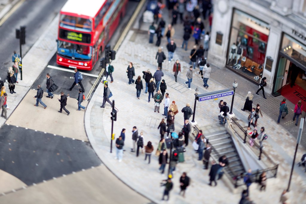 Stock Photo: 4282-32304 England, London, Oxford Circus. Looking down on the New Oxford Circus crossing.
