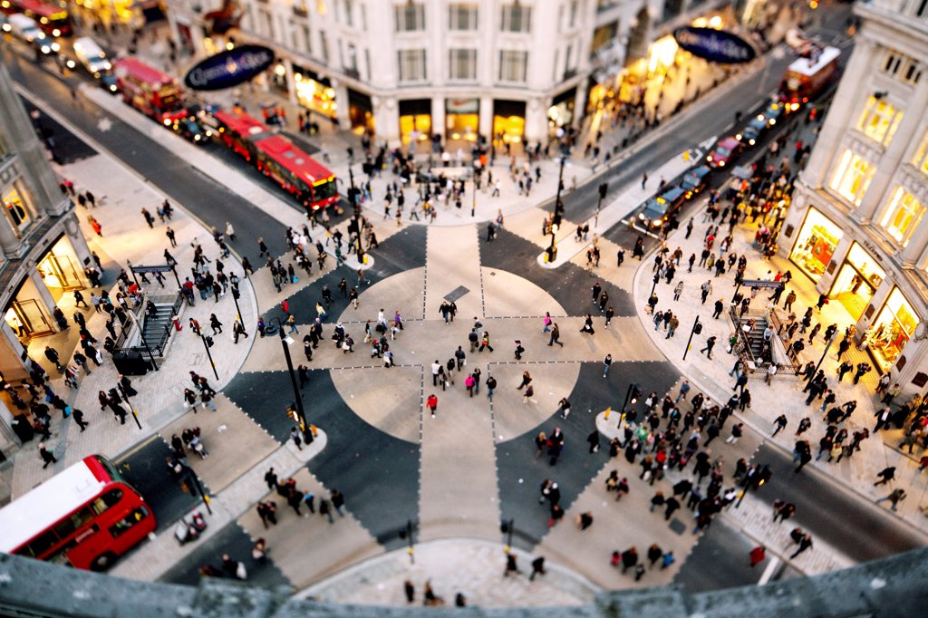 England, London, Oxford Circus. Looking down on the New Oxford Circus crossing. : Stock Photo