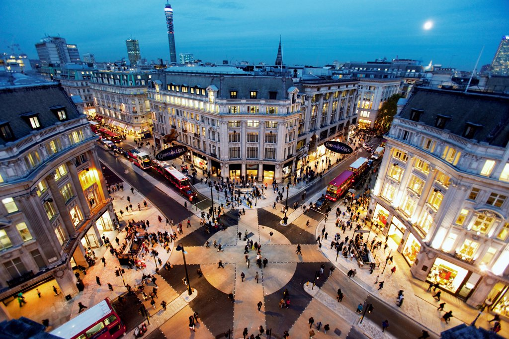 Stock Photo: 4282-32306 England, London, Oxford Circus. Looking down on the New Oxford Circus crossing at sunset.