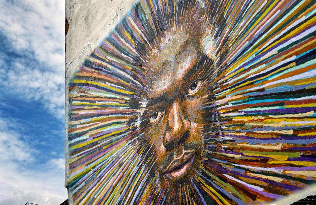 Stock Photo: 4282-32417 England, London, Shoreditch. Street art by James Cochran of the sprinter Usain Bolt.