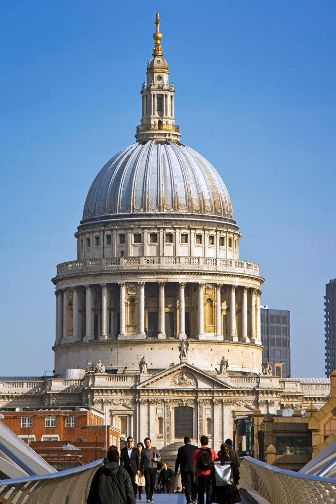 Stock Photo: 4282-32448 England, London, St Pauls. Dome of St Pauls from the Millennium Bridge.