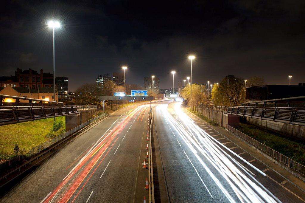 Stock Photo: 4282-32544 England, Greater Manchester, Manchester. The A(57)M Mancunican Way in Hulme in Manchester.