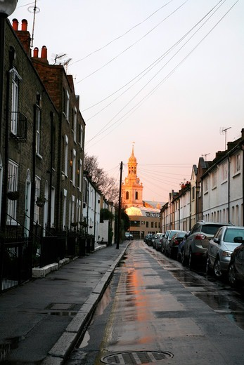 Stock Photo: 4282-32647 England, London, Greenwich. Looking up Straightsmouth to a sunlit St Alfege church in Greenwich.