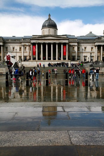 England, London, Trafalgar Square. A view towards the National Gallery in Trafalgar Square. : Stock Photo