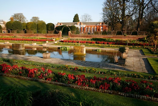 England, London, Kensington Gardens. View across the Sunken Garden to the Orangery in Kensington Gardens. : Stock Photo
