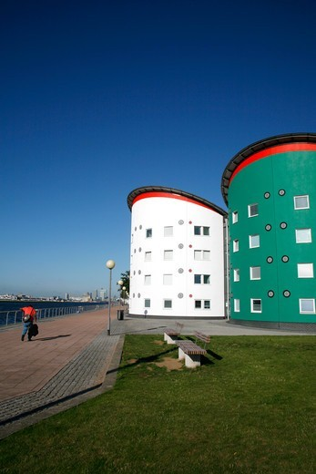 Stock Photo: 4282-32771 England, London, Beckton. University of East London campus beside Royal Albert Dock in Beckton.