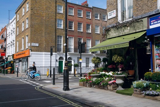 Stock Photo: 4282-32786 England, London, Marylebone. Spirit of Flowers florists on Crawford Street in Marylebone.